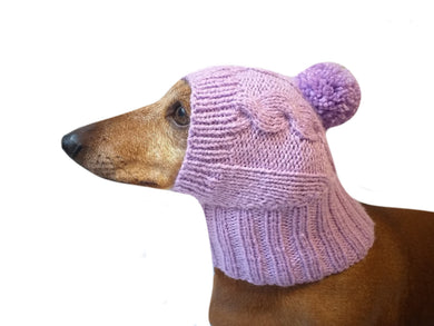 Lilac knitted hat for dachshund with pompom - dachshundknit