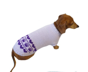 Lilac knitted sweater for dogs, clothes for dachshunds, sweater for dogs, clothes for dogs, sweater for small dogs, dachshund sweater - dachshundknit