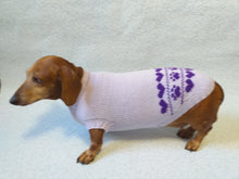 Load image into Gallery viewer, Lilac knitted sweater for dogs, clothes for dachshunds, sweater for dogs, clothes for dogs, sweater for small dogs, dachshund sweater - dachshundknit