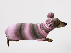 Costume for miniature dachshund sweater and hat, Doxie sweater and hat set