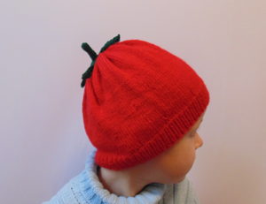 Knitted hat tomato universal size child, woman, teenager