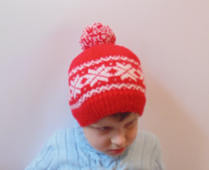 Winter knitted hat with snowflakes 4-7 years