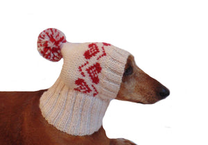Pink hat with heart for small handmade dog - dachshundknit