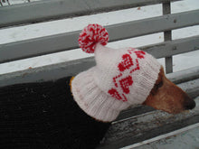 Load image into Gallery viewer, Pink hat with heart for small handmade dog - dachshundknit