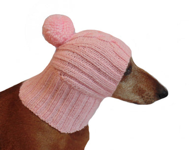 Pink warm winter hat for dachshund, pink hat dog - dachshundknit