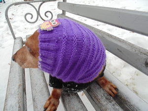 Purple knitted hat with an owl for dog or cat - dachshundknit