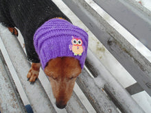 Load image into Gallery viewer, Purple knitted hat with an owl for dog or cat - dachshundknit
