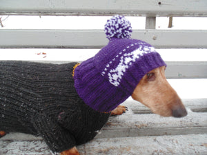 Purple knitted warm winter hat for small dog handmade - dachshundknit