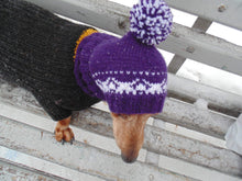 Load image into Gallery viewer, Purple knitted warm winter hat for small dog handmade - dachshundknit