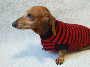 Red with black stripes dog knitted sweater, clothes for dachshund, sweater dog, clothes for dog, sweater for small dogs, dachshund sweater - dachshundknit