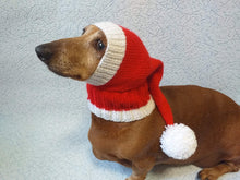 Load image into Gallery viewer, Santa hat for dog, christmas santa hat for dog, santa hat for dachshund - dachshundknit
