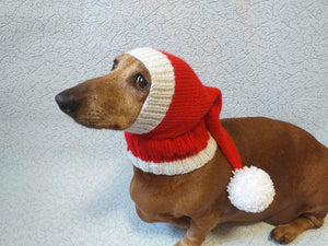 Santa hat for dog, christmas santa hat for dog, santa hat for dachshund - dachshundknit