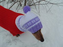 Load image into Gallery viewer, Warm hat for small handmade dogs - dachshundknit