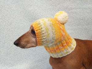 Warm winter hat with pompom for small dog - dachshundknit