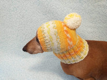 Load image into Gallery viewer, Warm winter hat with pompom for small dog - dachshundknit