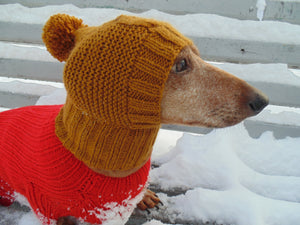 Winter clothes for dogs knitted hat owl - dachshundknit