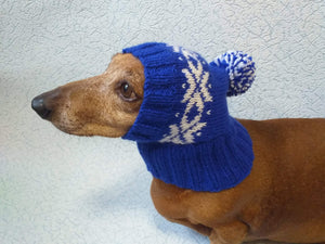 Winter knitted hat for small dog, hat for dachshund - dachshundknit