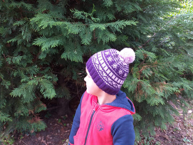 Winter lilac children hat 4-7 year with snowflakes and pompom - dachshundknit