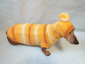 Winter warm sweater set and hat for dog, hat for dachshund - dachshundknit