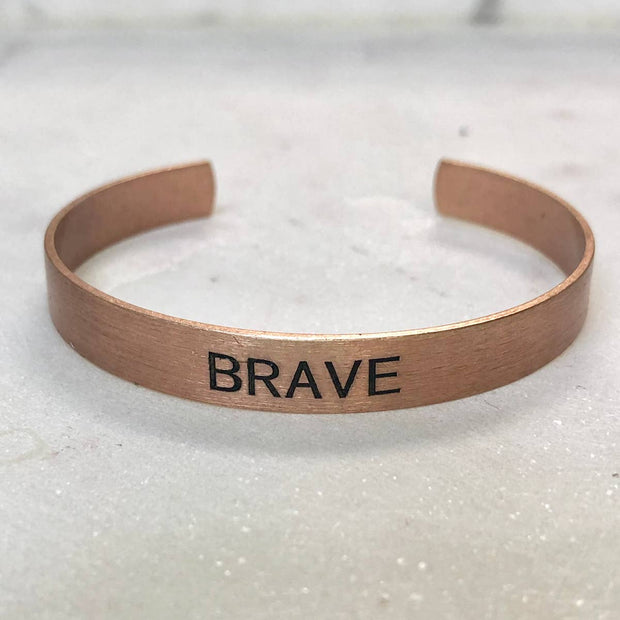 BRAVE Copper Metal Cuff Bracelet