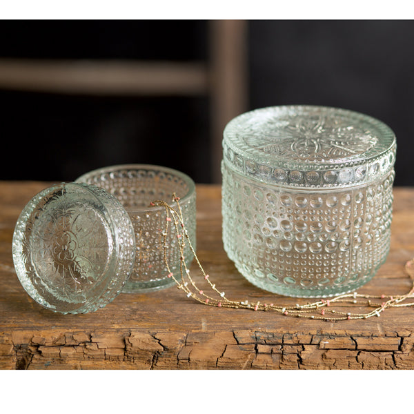 Set of 2 Decorative Glass Jars