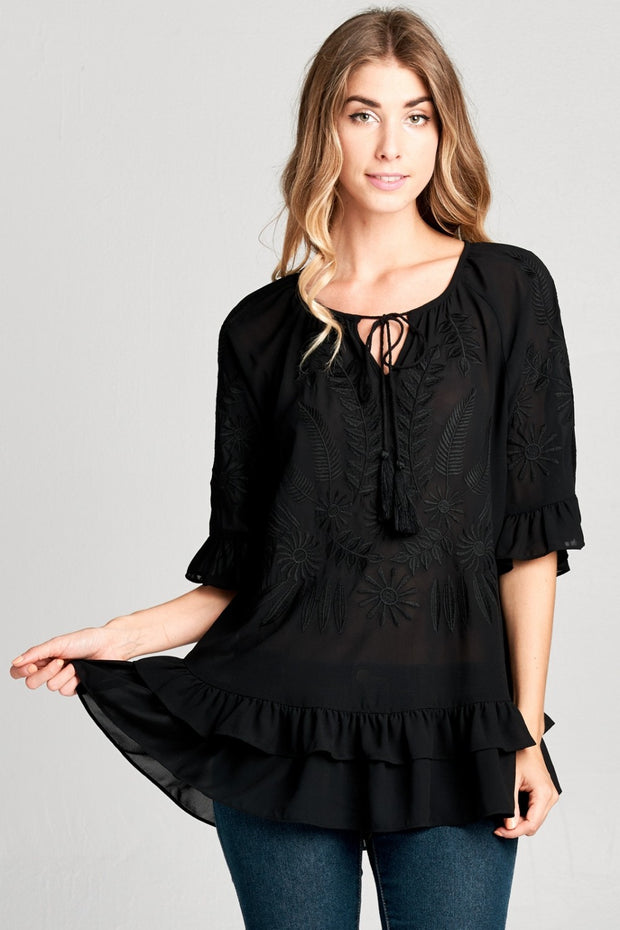 Black Tiered Ruffle Embroidered Top