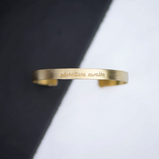 Adventure Awaits Brass Cuff
