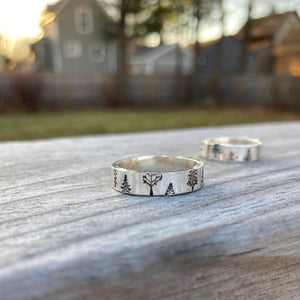 Trees Rings shown outside with houses in background