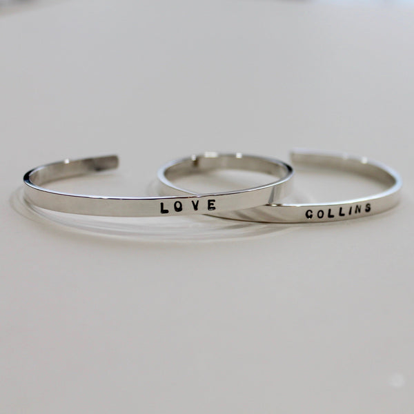 Cuff Bracelet with a Word Message of Your Choice in Silver