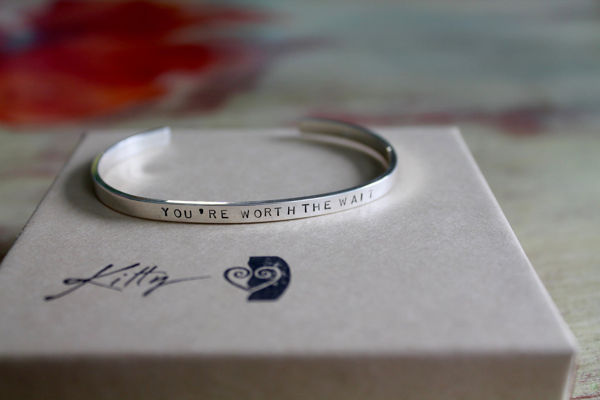 Message Bracelet with Your Custom Words in Silver