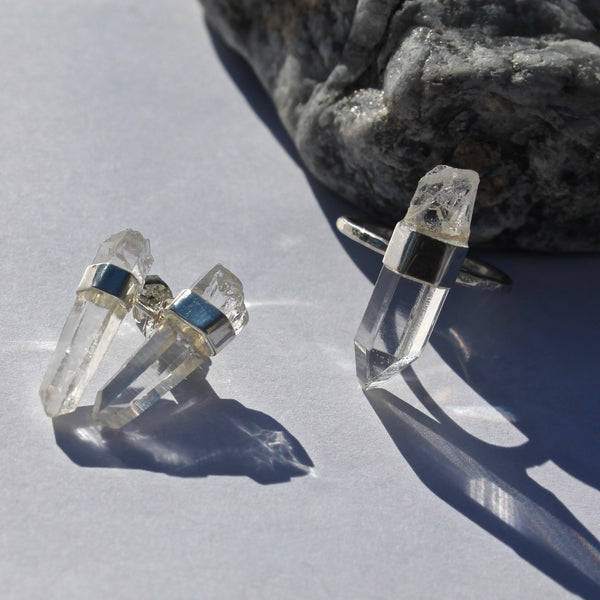 Large crystal ring and large crystal point earrings