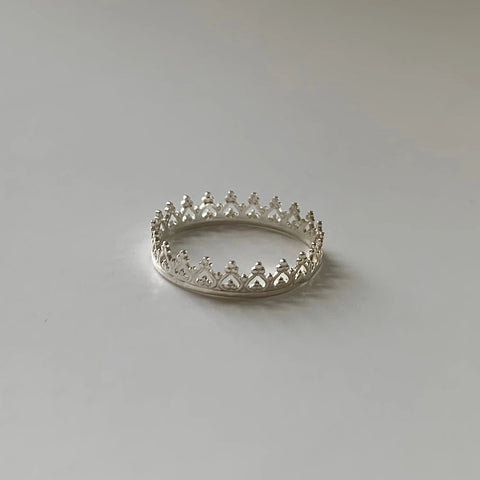Crown Ring with Heart Design