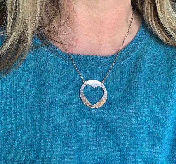 Open Heart Circle Necklace in Silver