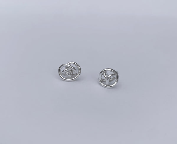 Tumbleweed Knot Earrings Post Style in Sterling Silver