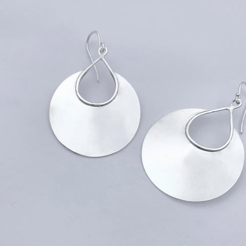 Large Silver Cut Out Teardrop Earrings in Silver