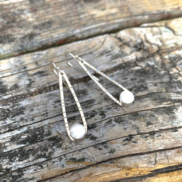 Teardrop Moonstone Silver Earrings