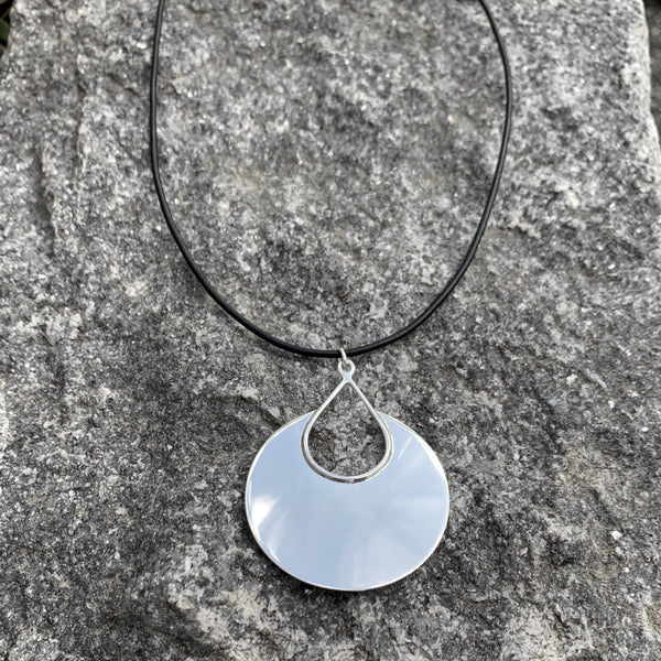 Large Silver Cut Out Teardrop Pendant on Chain or Leather
