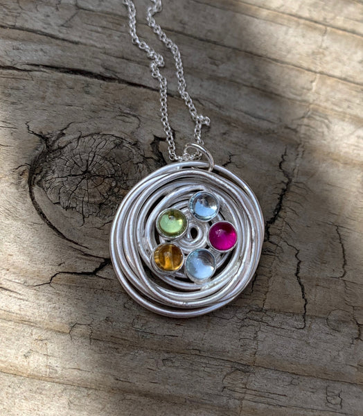 Nest Necklace with Birthstones or Multi Stone