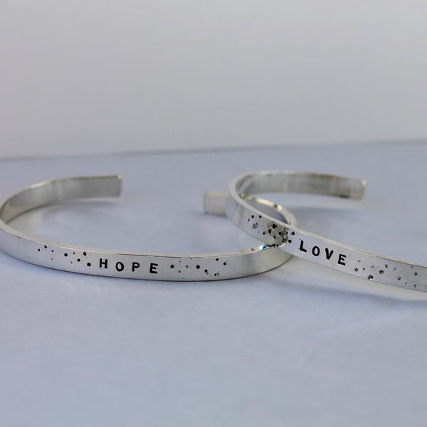 Cuff Bracelet with Message of your choice in Silver