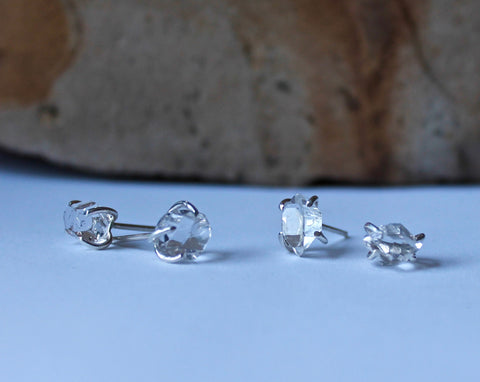 Herkimer Diamond Post Earrings, showing two different pairs