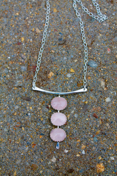 Three Stones Necklace in Silver