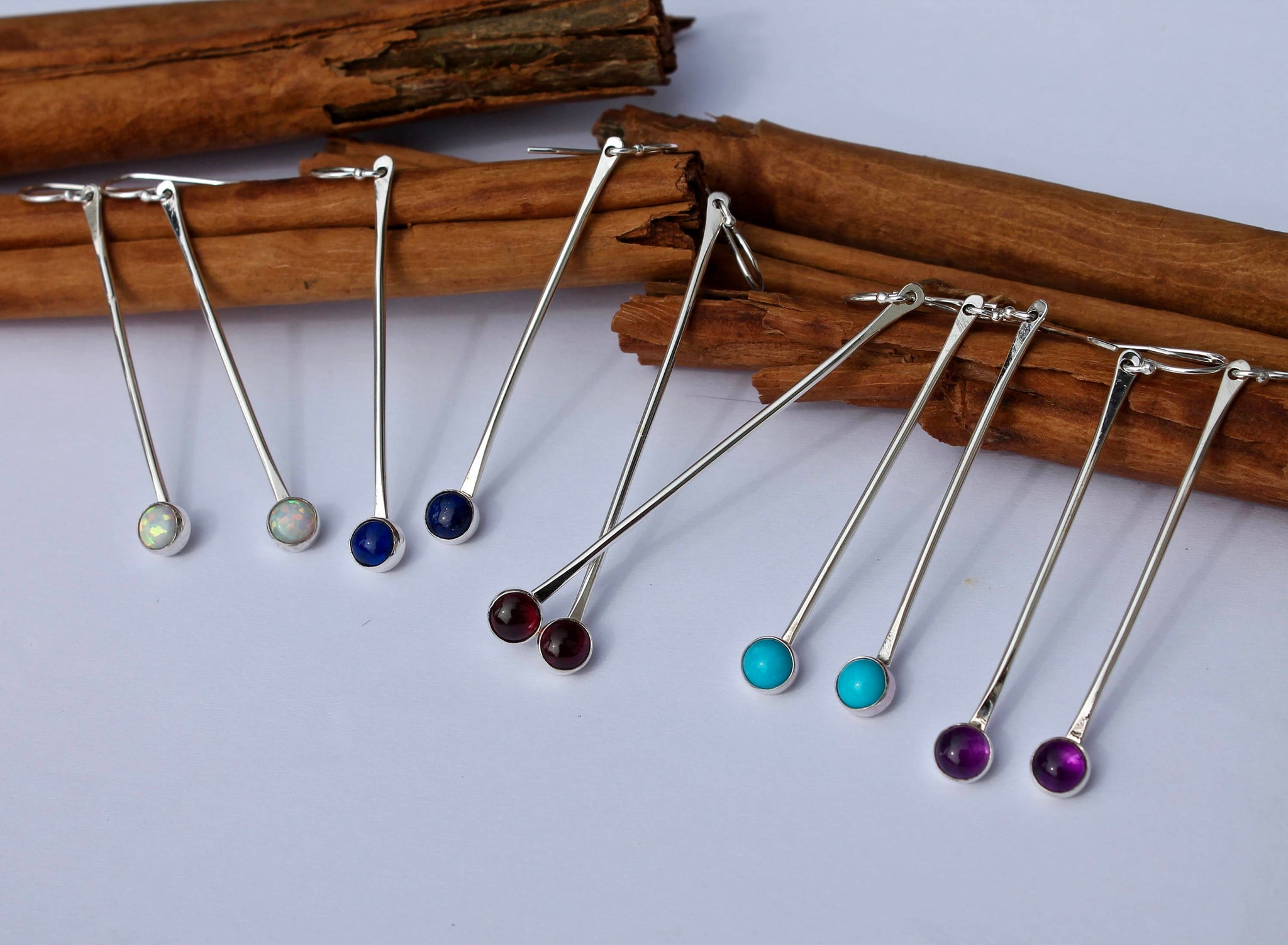 Long Silver Stick with Stone Earrings