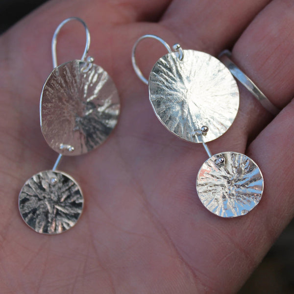 Double Circle Textured Earrings in Silver
