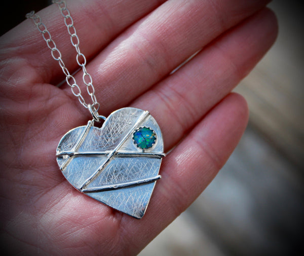 Mended Broken Heart in Sterling with Opal Mosaic