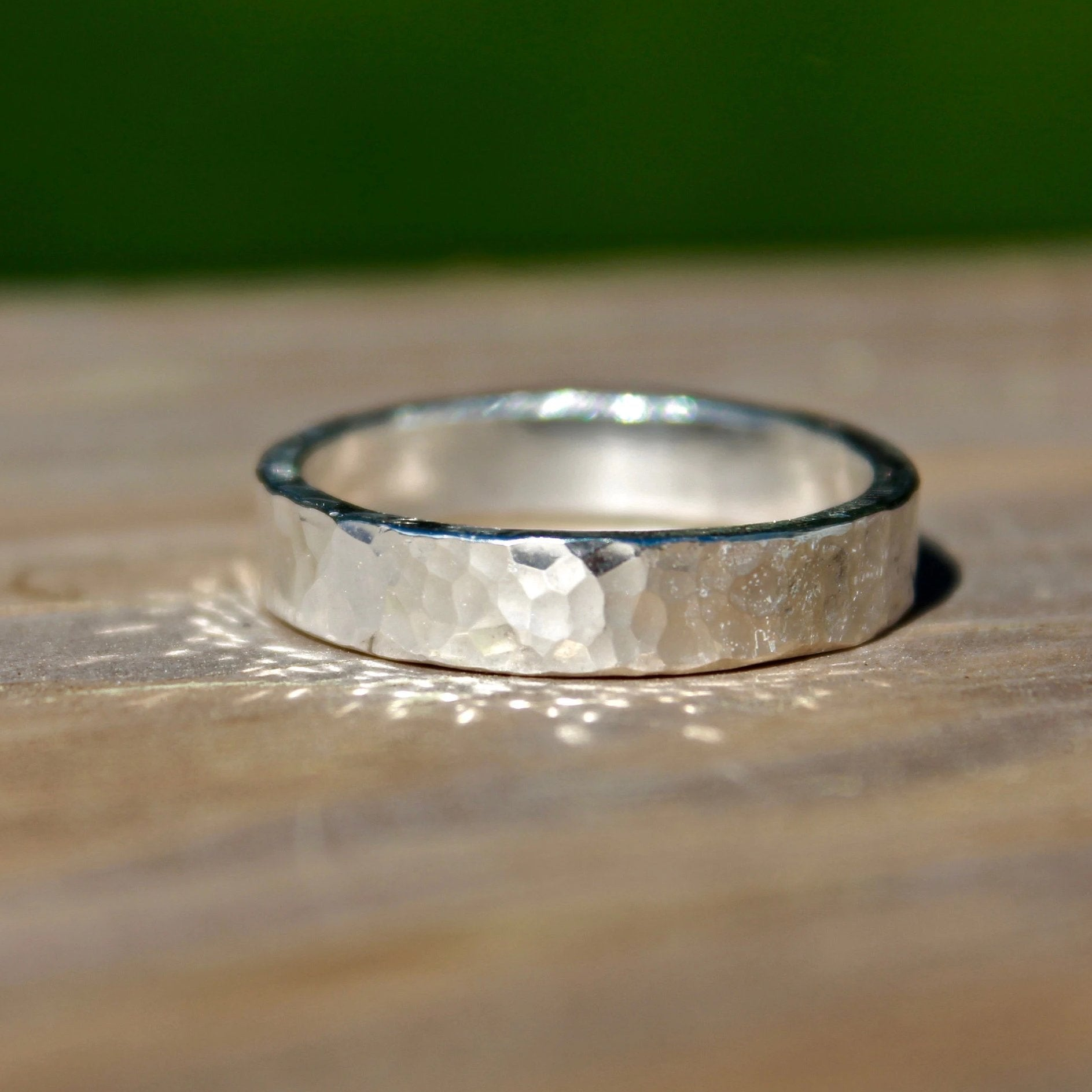 Hammered Sterling Silver Ring Band for Men or Women