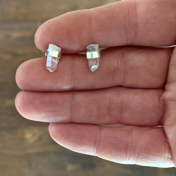 Raw Crystal Point Post Earrings