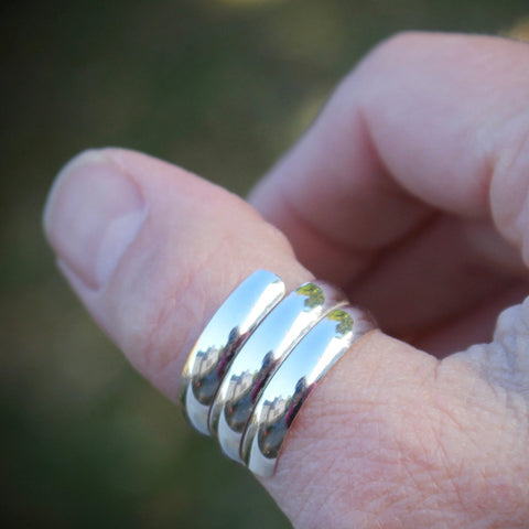 Thumb ring sterling silver wide band half round