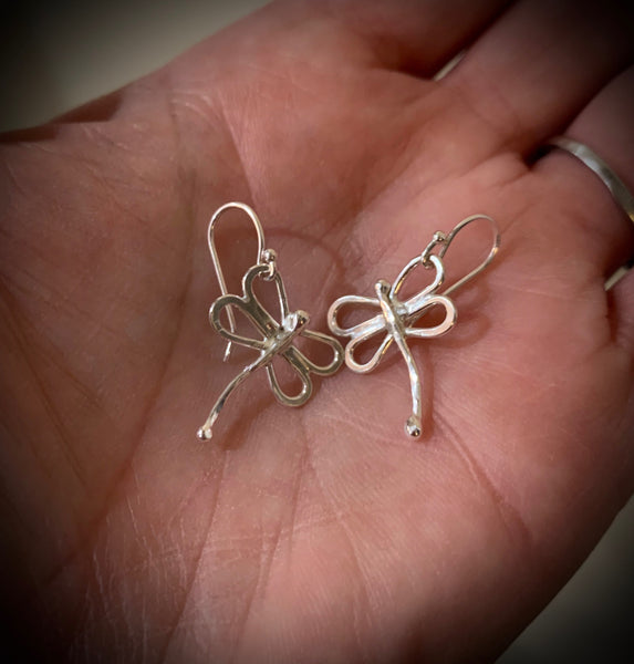 Little Silver Dragonfly Earrings