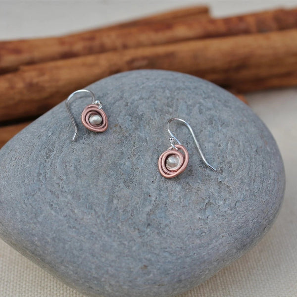 Copper and Silver Mini Nest Earrings