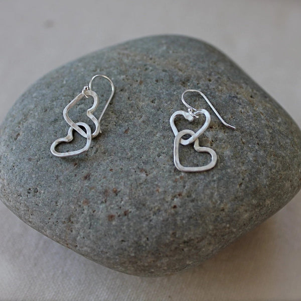 Hearts Linked Together Earrings in Silver
